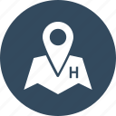 hotel location, hotel pin, location pin, map locator, map pin icon