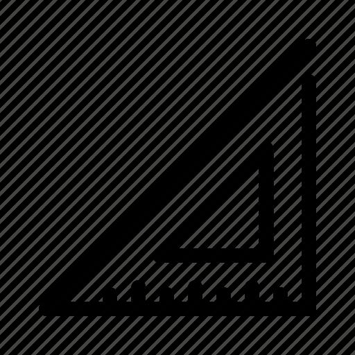 geometry, math, measure, ruler, triangular icon