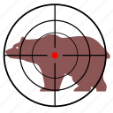 animal, bear, gun, hunting, target icon