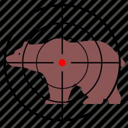 animal, bear, gun, hunting, target icon