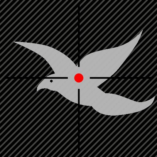 bird, gun, hunter, hunting, target icon