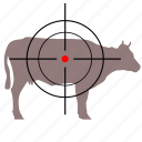 animal, cow, gun, hunter, target icon