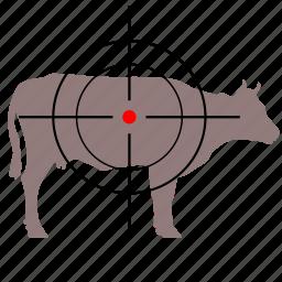 animal, cow, gun, hunter, target icon