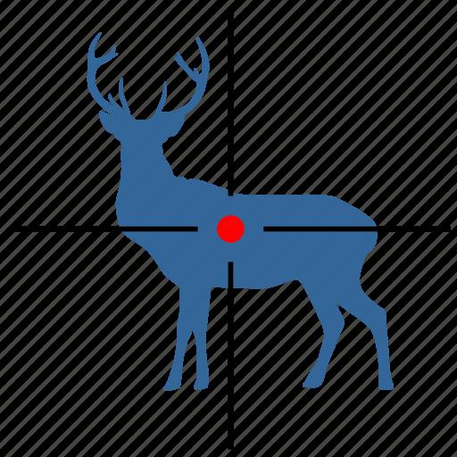 animal, deer, gun, hunting, sniper, target icon