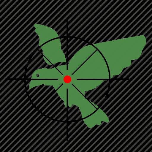 bird, gun, hunter, parrot, target icon