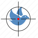 bird, dove, gun, hunting, target icon