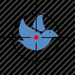 bird, dove, gun, hunting, target icon