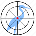 bird, flamingo, gun, hunting, target icon