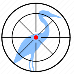 bird, flamingo, gun, hunting, target icon