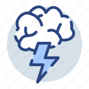 brainstorm, clouds, rain, raining, thunder, thunderstorm icon