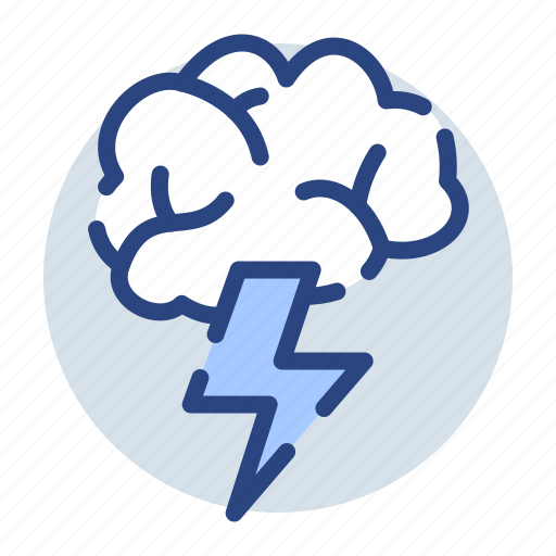 brainstorm, clouds, rain, raining, thunder, thunderstorm icon