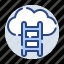 cloud, corporate, ladder, upload, database, internet, server