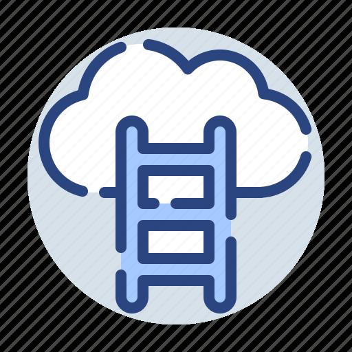 cloud, corporate, database, internet, ladder, server, upload icon