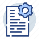 data, document, files, gear, settings icon