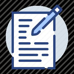 document, files, pen, pencil, sheet, write icon