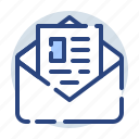 document, envelope, folder, mail, open, opened icon