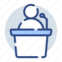 man, people, person, podium, speaker, speech icon
