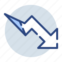 analytics, diagram, down, graph, growth, statistics, trend icon