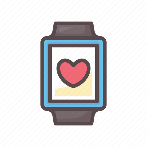fitness, gym, heart, smartwatch, watch icon