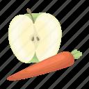 apple, carrot, fruit, vitamin