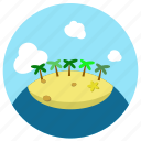 beach, coconut trees, island, sand, starfish