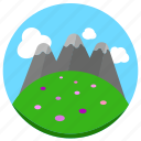 grassland, mountain, tall icon