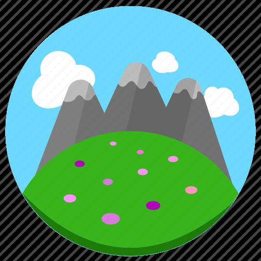 grassland, mountain, tall icon