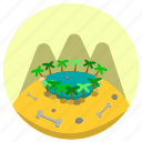 bone, green, oasis, stone, water icon