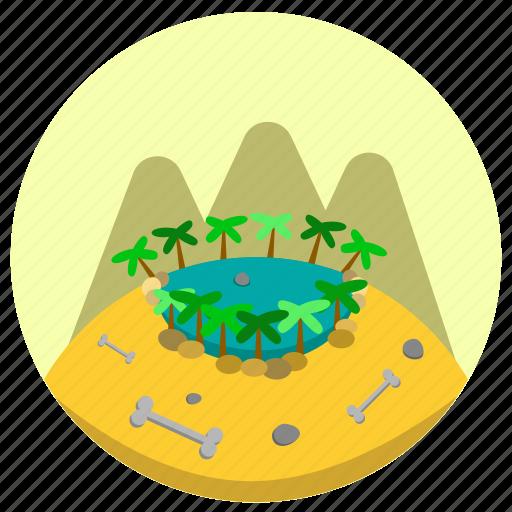bone, green, oasis, stone, water icon