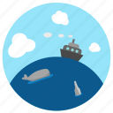 bottle, fish, ocean, sailing, sea, ship, whale icon