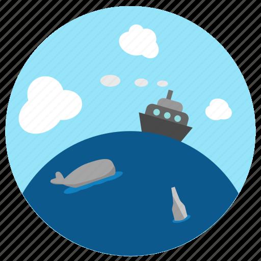 bottle, fish, ocean, sailing, sea, ship, whale icon