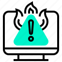 computer, dangerous, emergency, virus, warning icon