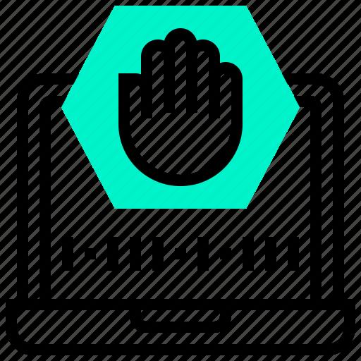 computer, data, protection, stop, virus icon