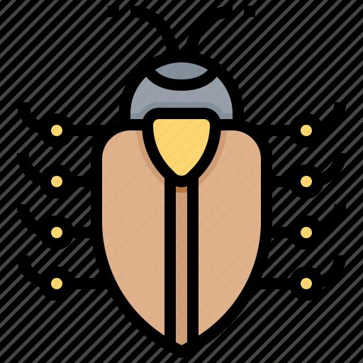 bug, data, hack, malware, virus icon