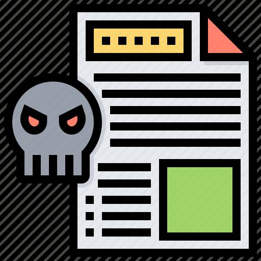 data, file, infected, malware, virus icon