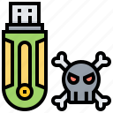 bone, drive, infected, usb, virus icon