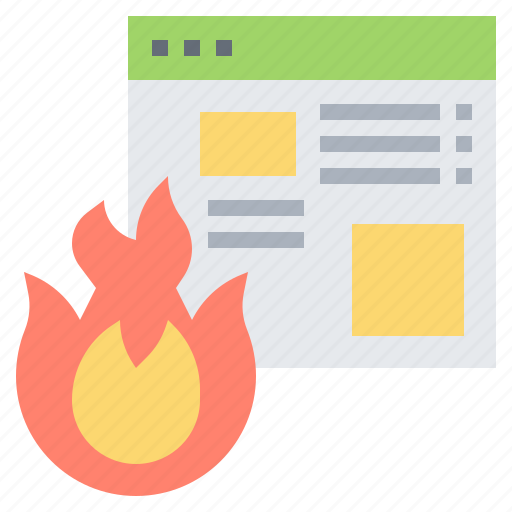data, fire, hacking, loss, website icon