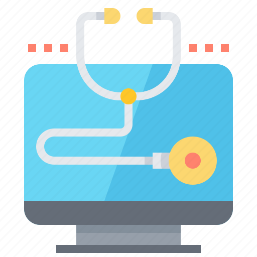 computer, diagnostic, healthcare, scan, stethoscope icon