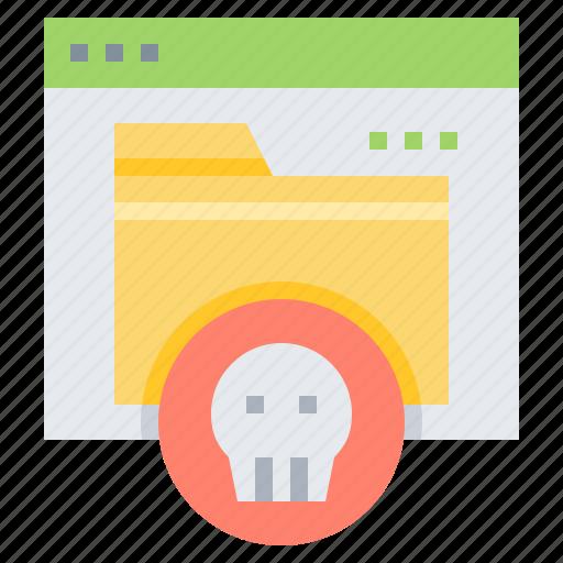 browser, file, folder, malware, virus icon