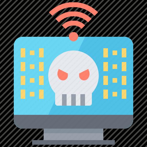alarm, computer, hack, malware, virus icon