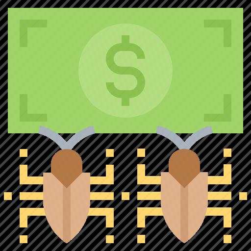 bug, hacking, money, theft, virus icon