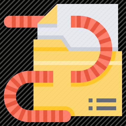 data, file, hacking, virus, worm icon