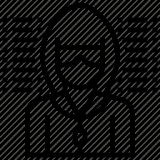 avatar, data, hacker, theft, virus icon