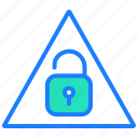 alert, lock, protection, security, unlock, warning icon