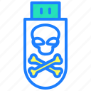 danger, hack, hacking, pendrive, security, warning icon