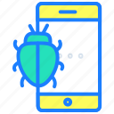 bug, defect, error, hack, hacking, mobile phone, virus icon