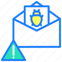 alert, bug, defect, error, hack, virus, warning icon