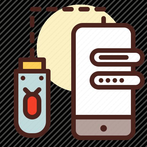 crack, data, info, steal, stick, usb, virus icon