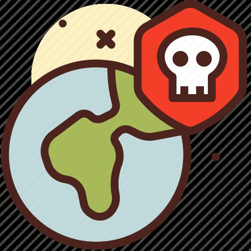 death, earth, skull, terrorism icon