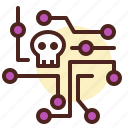 broken, intelligence, network, skull icon